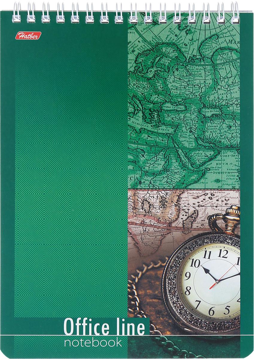 Hatber Блокнот Office Line 60 листов в клетку60Б5B1сп_16113Блокнот Hatber Office Line - незаменимый атрибут современного человека, необходимый для рабочих и повседневных записей в офисе и дома. Фронтальная часть обложки выполнена из картона и оформлена изображением часов на зеленом фоне. Тыльная обложка выполнена из плотного картона, что позволяет делать записи на весу. Внутренний блок состоит из 60 листов белой бумаги. Стандартная линовка в голубую клетку без полей. Листы блокнота соединены металлическим гребнем.