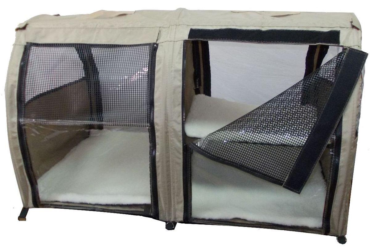 Клетка для животных Заря-Плюс, выставочная, цвет: бежевый, 101 х 58 х 54 см. КВП2КВП2бБольшая полукруглая выставочная клетка станет настоящей находкой для владельцев нескольких кошек и котят. В этой палатке найдется место всем Вашим питомцам. Эта выставочная палатка продумана таким образом, чтобы Вам было максимально удобно участвовать в выставках: - собирается круговым движением, как трансформер, легко и просто; на выставке Вы самостоятельно соберете и разберете палатку за считанные минуты; - лицевая сторона палатки выполнена из пленки, которая может полностью отстегиваться; - обратная сторона палатки выполнена наполовину из сетки, наполовину из пленки; также может полностью отстегиваться; - боковые стенки выполнены наполовину из пленки, благодаря чему палатка становится очень светлой. И Вы сможете в максимально выгодном свете представить на выставке своих питомцев! - в комплект входит дополнительная шторка на липучке; при необходимости Вы можете закрыть шторкой окно, чтобы Ваши питомцы могли отдохнуть; - если у Вас возникнет необходимость разделить пространство...