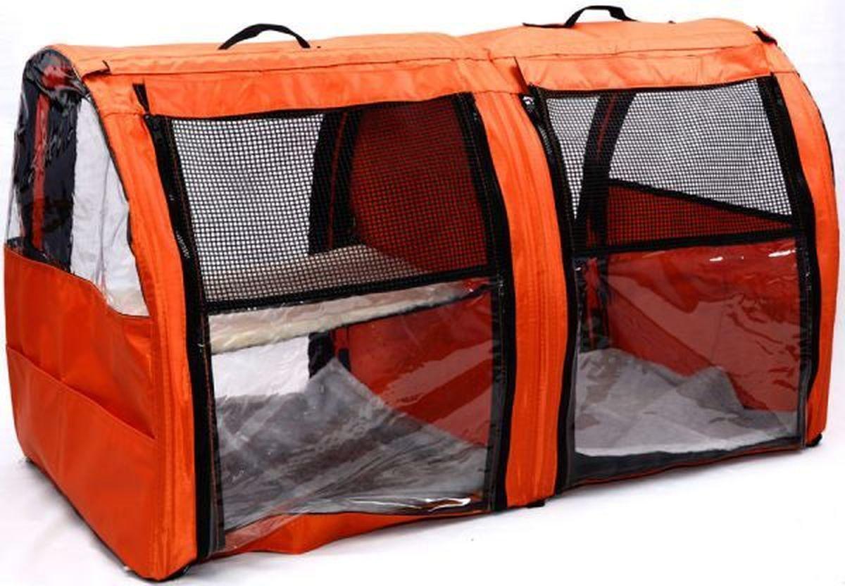 Клетка для животных Заря-Плюс, выставочная, цвет: оранжевый, 101 х 58 х 54 см. КВП2КВП2оБольшая полукруглая выставочная клетка станет настоящей находкой для владельцев нескольких кошек и котят. В этой палатке найдется место всем Вашим питомцам. Эта выставочная палатка продумана таким образом, чтобы Вам было максимально удобно участвовать в выставках: - собирается круговым движением, как трансформер, легко и просто; на выставке Вы самостоятельно соберете и разберете палатку за считанные минуты; - лицевая сторона палатки выполнена из пленки, которая может полностью отстегиваться; - обратная сторона палатки выполнена наполовину из сетки, наполовину из пленки; также может полностью отстегиваться; - боковые стенки выполнены наполовину из пленки, благодаря чему палатка становится очень светлой. И Вы сможете в максимально выгодном свете представить на выставке своих питомцев! - в комплект входит дополнительная шторка на липучке; при необходимости Вы можете закрыть шторкой окно, чтобы Ваши питомцы могли отдохнуть; - если у Вас возникнет необходимость разделить пространство...