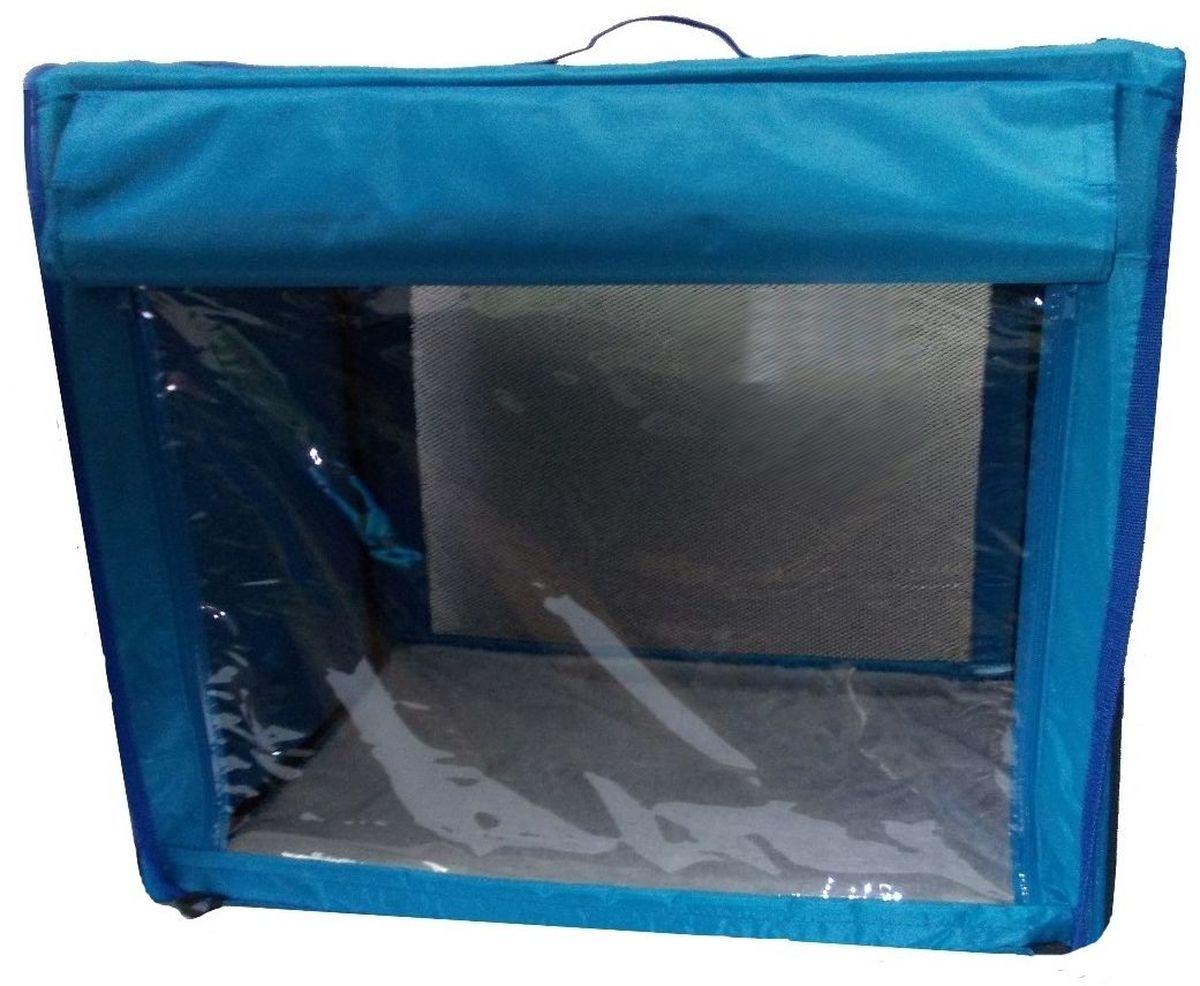 Клетка для животных Заря-Плюс, выставочная, цвет: голубой, 75 х 60 х 50 см. КТВ2КТВ2гОдна из любимых моделей наших Клиентов - выставочная палатка КТВ2: - имеет закрытые боковые части; - с одной стороны палатка выполнена из сетки, которая пристегивается с помощью молнии; - с другой стороны палатка выполнена из пленки, которая также пристегивается с помощью молнии; - обратите внимание на оформление выставочной клетки: при необходимости одна из сторон закрывается шторкой, в открытом состоянии шторка фиксируется с помощью липкой ленты; - огромное преимущество этой модели в том, что палатка легко и просто собирается и разбирается; на выставке Вы самостоятельно соберете палатку за несколько минут, застегнув молнии с двух сторон палатки; - в собранном виде палатка довольно компактна, при хранении занимает мало места; - палатка переносится в чехле, который входит в комплект; - для удобной переноски чехол имеет две короткие и одну длинную ручки, также чехол имеет 2 больших кармана; - в комплект входит съемное дно из ДВП и меховой матрац; при необходимости матрац легко...