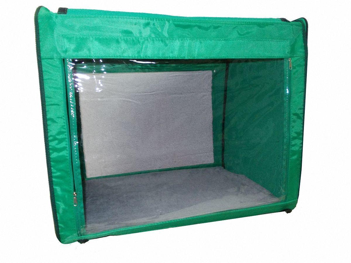 Клетка для животных Заря-Плюс, выставочная, цвет: зеленый, 75 х 60 х 50 см. КТВ2КТВ2зОдна из любимых моделей наших Клиентов - выставочная палатка КТВ2: - имеет закрытые боковые части; - с одной стороны палатка выполнена из сетки, которая пристегивается с помощью молнии; - с другой стороны палатка выполнена из пленки, которая также пристегивается с помощью молнии; - обратите внимание на оформление выставочной клетки: при необходимости одна из сторон закрывается шторкой, в открытом состоянии шторка фиксируется с помощью липкой ленты; - огромное преимущество этой модели в том, что палатка легко и просто собирается и разбирается; на выставке Вы самостоятельно соберете палатку за несколько минут, застегнув молнии с двух сторон палатки; - в собранном виде палатка довольно компактна, при хранении занимает мало места; - палатка переносится в чехле, который входит в комплект; - для удобной переноски чехол имеет две короткие и одну длинную ручки, также чехол имеет 2 больших кармана; - в комплект входит съемное дно из ДВП и меховой матрац; при необходимости матрац легко...