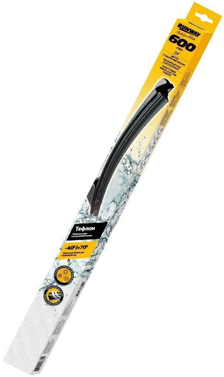 Щетки стеклоочистителя Runway, бескаркасные, с тефлоновым покрытием, 24 (600 мм), 5 адаптеровRW-24TЩетки стеклоочистителя Runway бескаркасной с графитовым покрытием изготовлены по современным стандартам. Направляющая шина, расположенная внутри чистящего полотна, равномерно распределяет прижимное усилие, по всей длине точно повторяя рельеф щетки, что обеспечивает наиболее полное очищение стекла за один подход.
