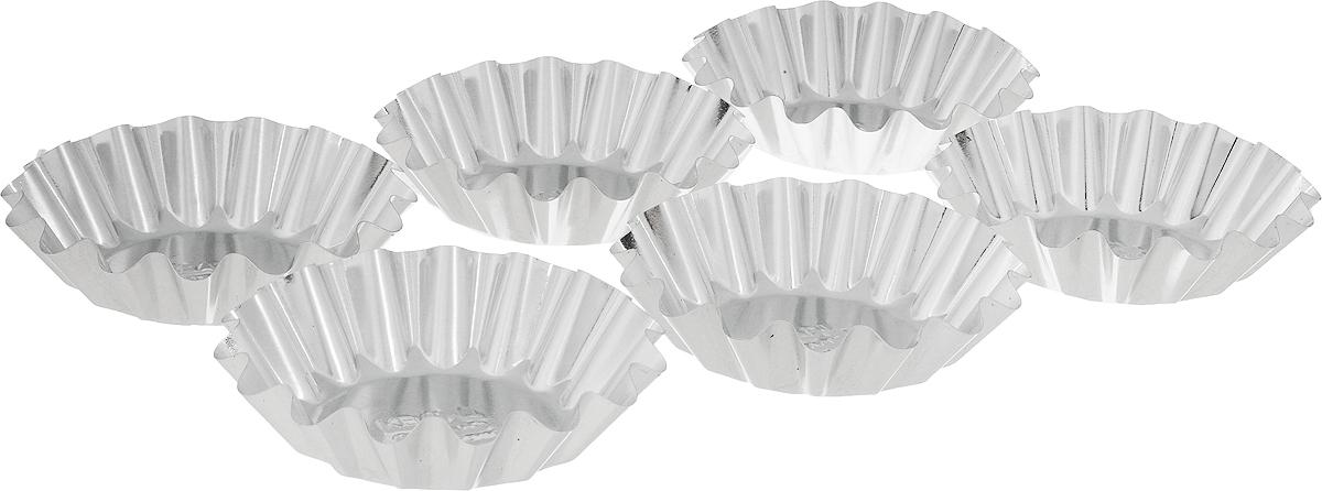 Форма Кварц, для выпечки тарталеток, диаметр 8,3 см, 6 штКФ-01.006Форма Кварц, выполненная из белой жести, предназначена для выпечки тарталеток. Стенки изделия рельефные. С формой Кварц вы всегда сможете порадовать своих близких оригинальной выпечкой. Диаметр формы (по верхнему краю): 8,3 см. Высота формы: 2,1 см. Количество: 6 шт.