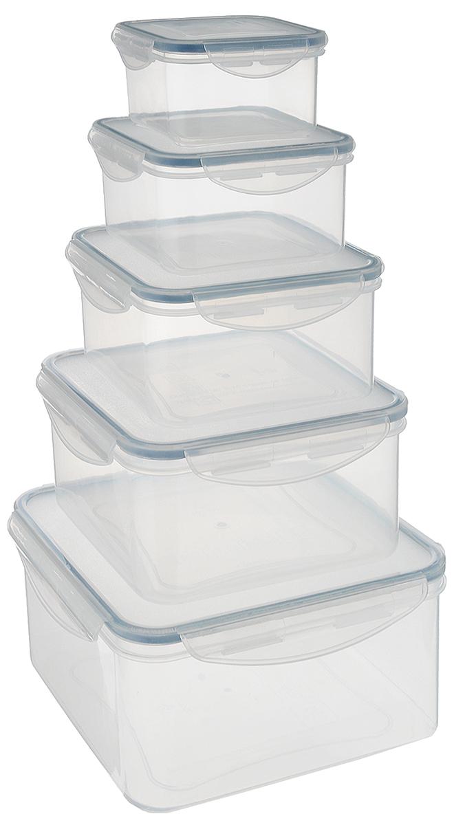 Набор контейнеров Tescoma Freshbox, 5 шт. 892044892044Набор Tescoma Freshbox состоит из 5 контейнеров, которые изготовлены из высококачественного пластика. Изделия идеально подходят не только для хранения, но и для транспортировки пищи. Контейнеры имеют крышки, которые плотно закрываются на 2 защелки и оснащены специальными силиконовыми прослойками. Поэтому контейнер подходит для хранения не только пищи, но и жидкости. Изделие подходит для домашнего использования, для пикников, поездок, отдыха на природе, его можно взять с собой на работу или учебу. Можно использовать в СВЧ-печах, холодильниках, посудомоечных машинах, морозильных камерах. Размер контейнера на 0,4 литра (без учета крышки): 10 х 10 x 5,5 см. Размер контейнера на 0,7 литра (без учета крышки): 12 х 12 x 6,5 см. Размер контейнера на 1,2 литра (без учета крышки): 14,5 х 14,5 x 7,5 см. Размер контейнера на 2 литра (без учета крышки): 17 х 17 x 8,5 см. Размер контейнера на 3 литра (без учета крышки): 20 х 20 x...