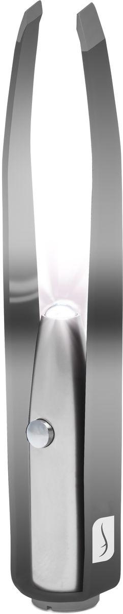 Flo Маникюрные щипцы Led Illuminating Tweezers, с LED-фонариком, цвет: черныйFP-810-601BИзготовлено из прочной нержавеющей стали. В пинцет встроена яркая светодиодная лампа. Можно провозить в ручной клади. Способ применения: Снимите защитный пластик на кнопке используйте фонарик для подсвечивания самых тонких волосков. Состав: Аллюминий, сталь, светодиодная лампа.