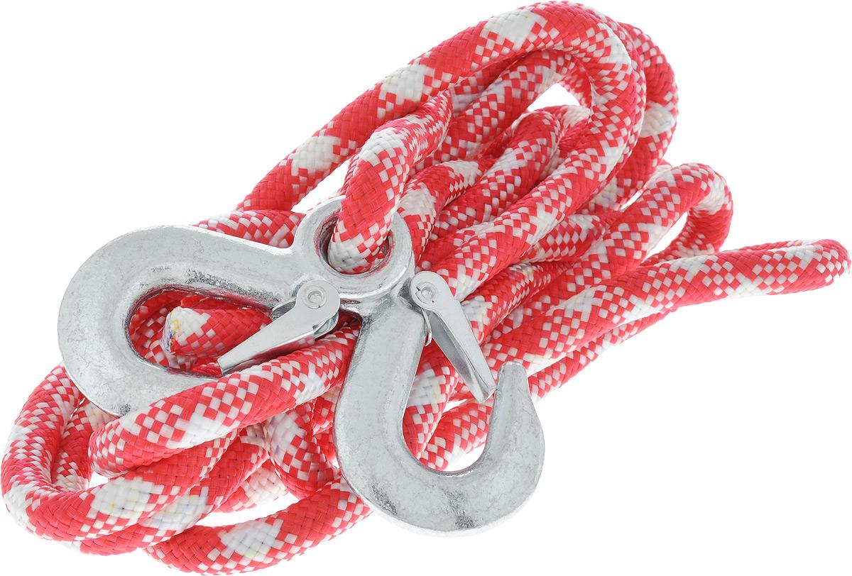 Трос-шнур альпинистский Главдор, с 2 крюками, цвет: красный, белый, диаметр 12 мм, 3,5 т, 4,95 мGL-251_красно-белыйАльпинистский трос Главдор представляет собой шнур из сверхпрочной полипропиленовой нити с двумя стальными крюками. Специальное плетение веревки обеспечивает эластичность троса и плавный старт автомобиля при буксировке. На протяжении всего срока службы не меняет свои линейные размеры. Трос морозостойкий и влагостойкий. Длина троса соответствует ПДД РФ. Буксировочный трос обязательно должен быть в каждом автомобиле. Он необходим на случай аварийной ситуации или если ваш автомобиль застрял на бездорожье. Максимальная нагрузка: 3,5 т. Длина троса: 4,95 м. Диаметр троса: 12 мм.