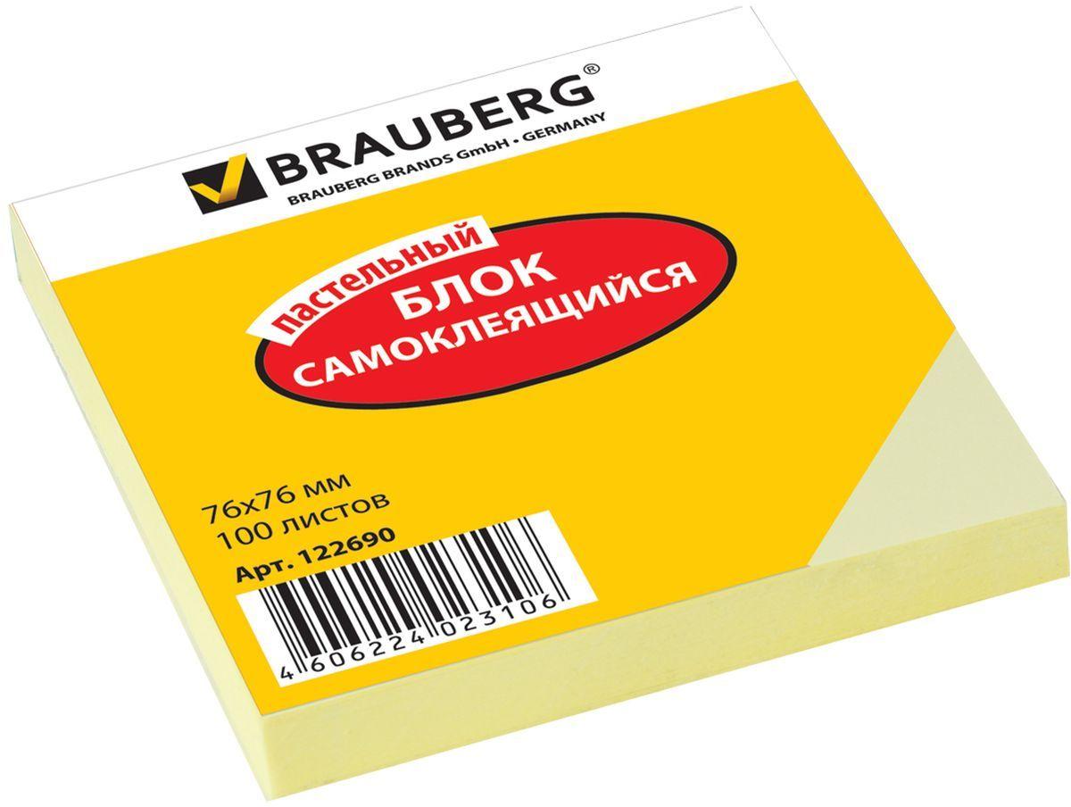 Brauberg Бумага для заметок 100 листов цвет желтый