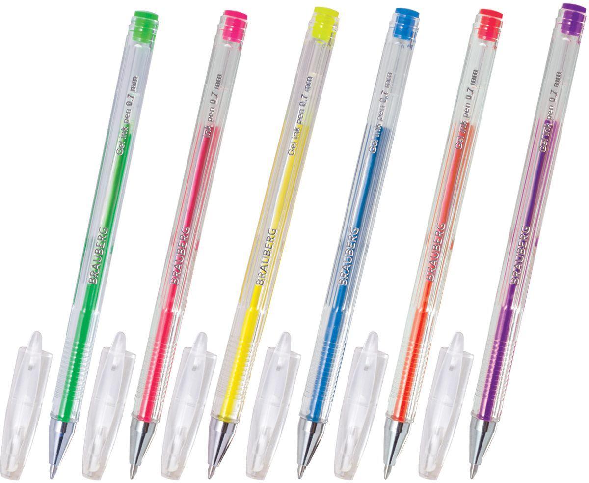 Brauberg Набор гелевых ручек Jet неоновые 6 шт141034Набор Brauberg Jet включает в себя гелевые ручки различных неоновых цветов. Рекомендован для детского творчества. Цвет корпуса прозрачный с деталями в цвет чернил. Ручки упакованы в мягкий пластиковый футляр.