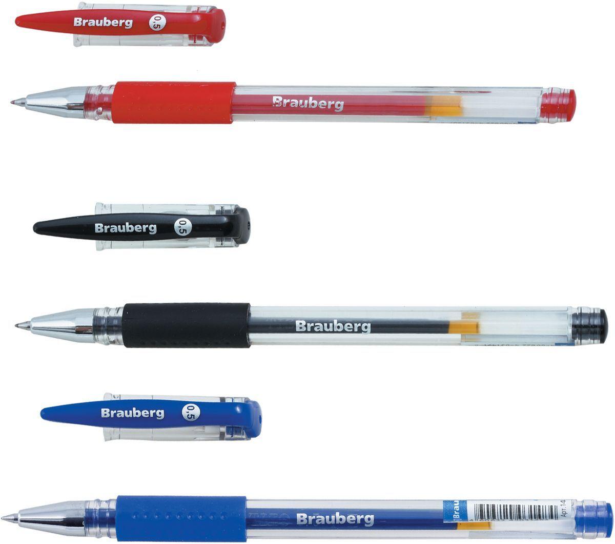 Brauberg Набор гелевых ручек Number One 3 шт141305Набор Brauberg Number One включает в себя 3 гелевые ручки с колпачком и резиновым упором для удобства письма. Цвет деталей соответствует цвету чернил.