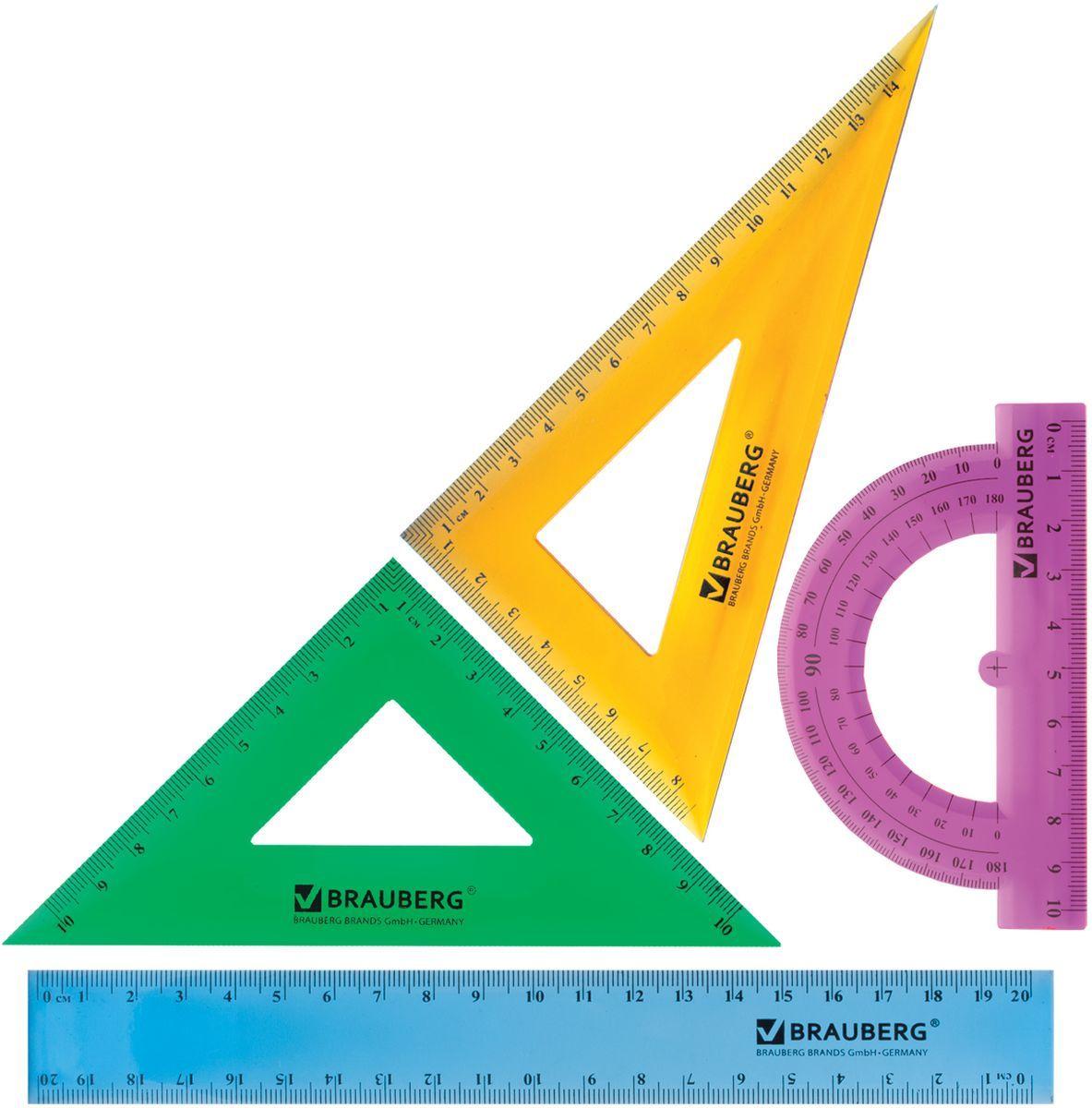 Brauberg Набор чертежный Сrystal 210296210296Набор геометрический Brauberg Сrystal из яркого, прочного пластика толщиной 1,6 - 2 мм. Предназначен для чертёжных работ. Набор включает в себя четыре предмета: линейка со шкалами 20 см/20 см, треугольник с углами 30°/60° и шкалами 14,5 см/8,5 см, треугольник с углами 45°/45° и шкалами 10 см/10 см, транспортир 180°.