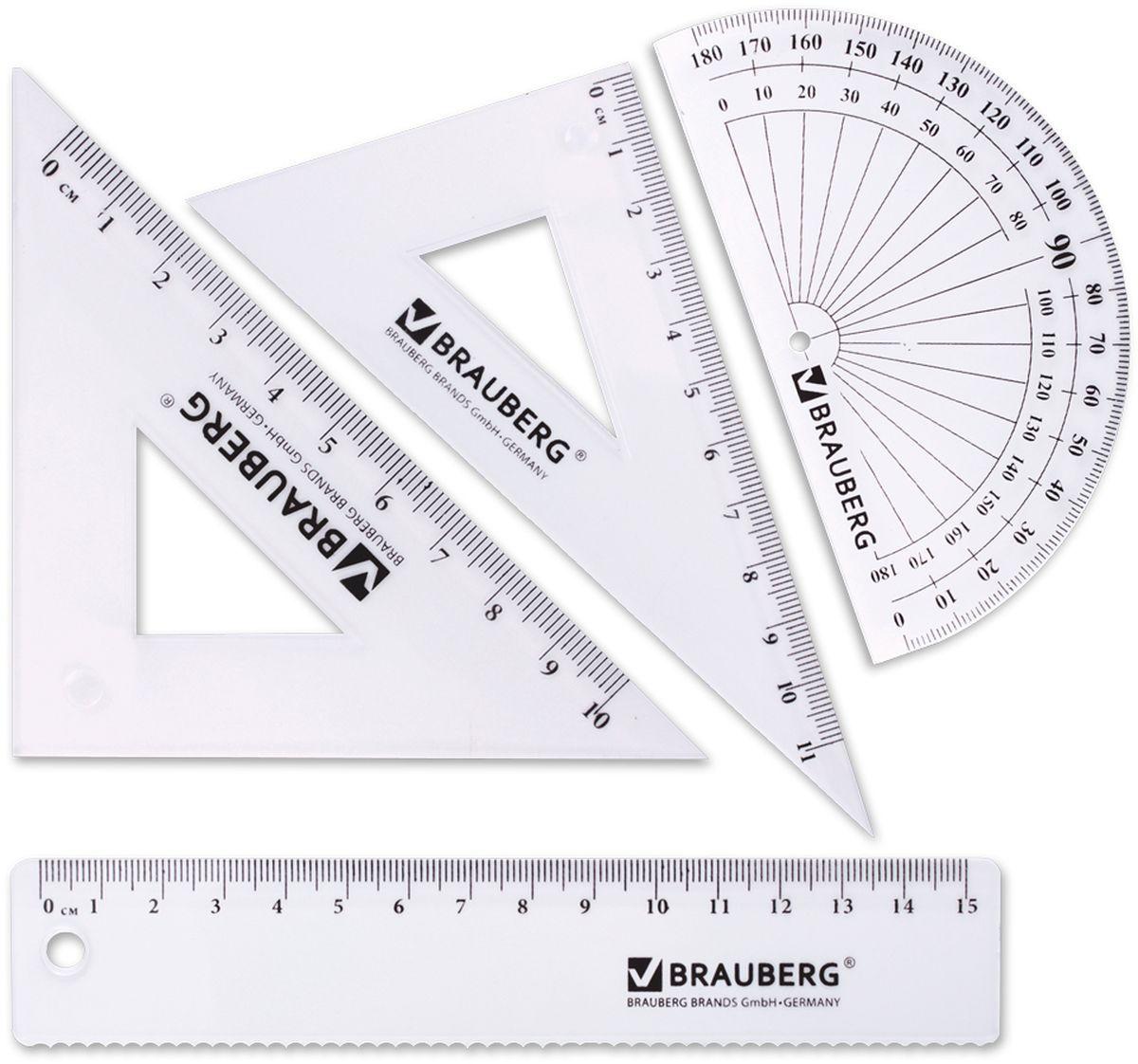 Brauberg Набор чертежный 4 предмета 210306210306Набор геометрический из прозрачного, прочного пластика толщиной 1,4 - 2 мм. Предназначен для чертёжных работ. Набор включает в себя четыре предмета: линейка со шкалой 15 см, треугольник с углами 30°/60° и шкалой 11 см, треугольник с углами 45°/45° и шкалой 10 см, транспортир 180°.