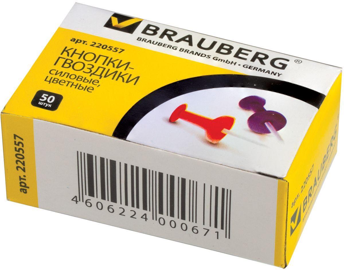 Brauberg Кнопки силовые 50 шт 220557220557Силовые кнопки Brauberg предназначены для создания отметок на картах и для крепления информации к пробковым доскам. Корпус кнопок - гвоздиков изготовлен из цветного пластика, а острие изготовлено из стали.