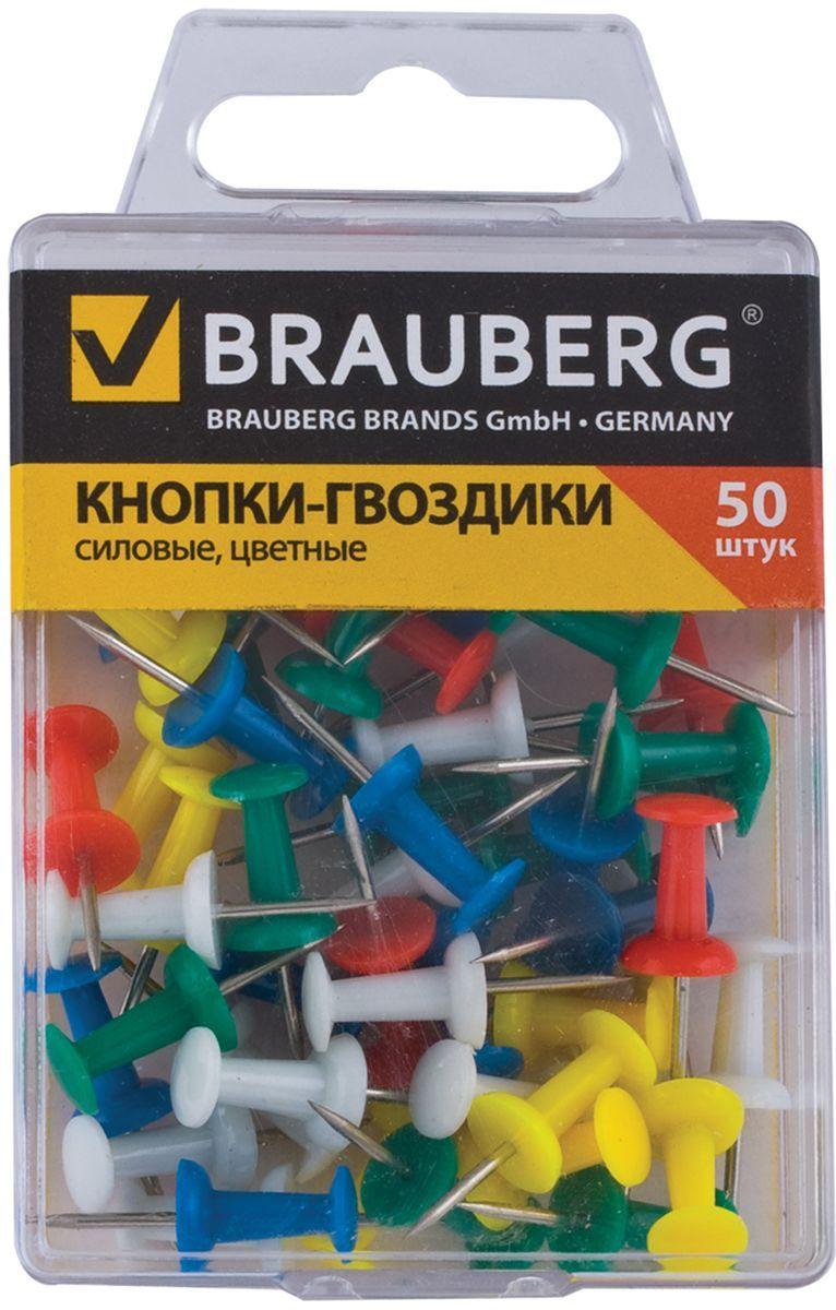 Brauberg Кнопки силовые 50 шт 221117221117Силовые кнопки Brauberg предназначены для создания отметок на картах и для крепления информации к пробковым доскам. Корпус кнопок - гвоздиков изготовлен из цветного пластика, а острие изготовлено из стали.
