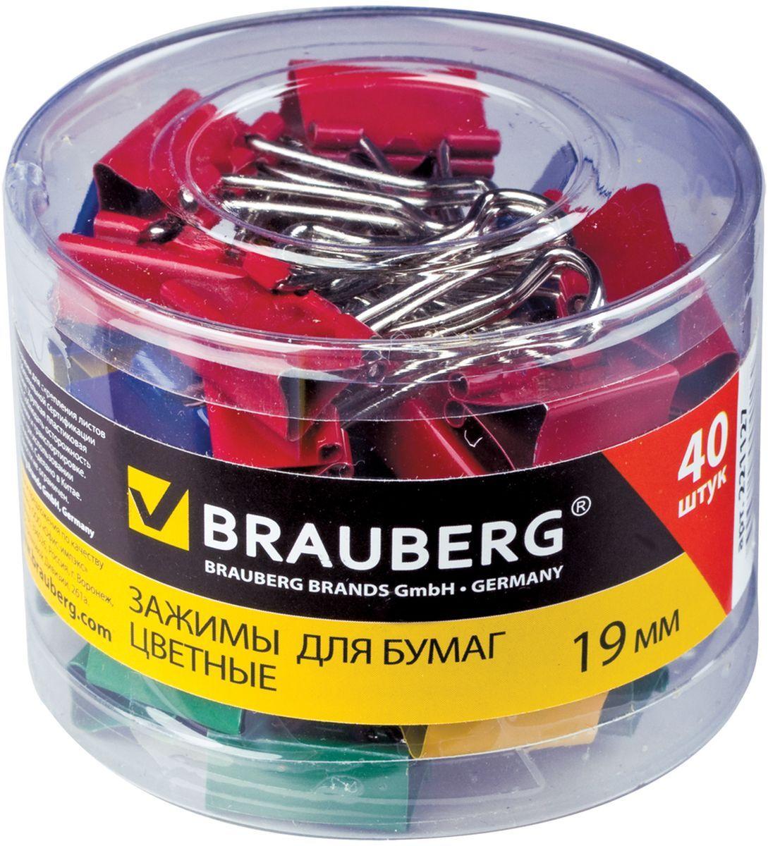 Brauberg Зажим для бумаг 19 мм 40 шт221127Зажимы для бумаг Brauberg предназначены для скрепления документов без использования степлера. В коробке представлены зажимы красного, желтого, зеленого, синего и белого цветов. Скрепляют до 60 листов.
