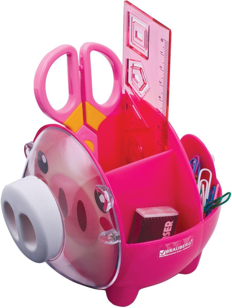 Brauberg Канцелярский набор Пигги цвет розовый231934Настольный канцелярский набор Brauberg Пигги из высококачественного яркого пластика в форме поросенка позволяет эргономично и весело организовать место для учебы и развлечений ребенка. В набор входят: пластиковые ножницы с безопасными закругленными лезвиями, линейка с трафаретами, скрепки, стирательная резинка.