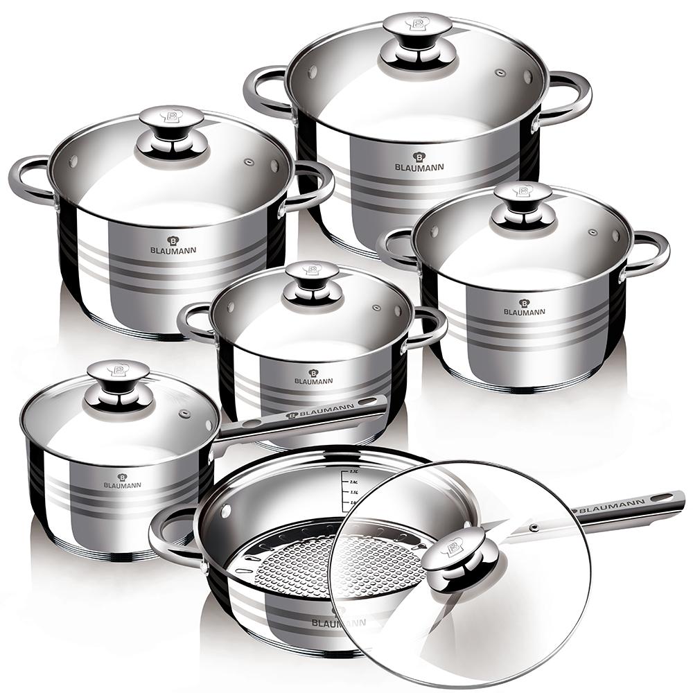 Набор посуды Blaumann Jambo, 12 предметов1031-ВLНабор посуды 12 предметов со стеклянными крышками, 1 шт - кастрюля 16х9,5 см, 1 шт кастрюля 16х9,5 см, 1 шт кастрюля 18х10,5 см, 1 шт кастрюля 20х11,5 см, 1 шт сотейник 24х13,5 см, 1 шт сковорода 24х6,5 см, подходит для всех видов плит. Объем кастрюль: 2,1 л; 2,5 л; 3,9 л; 6,5 л.