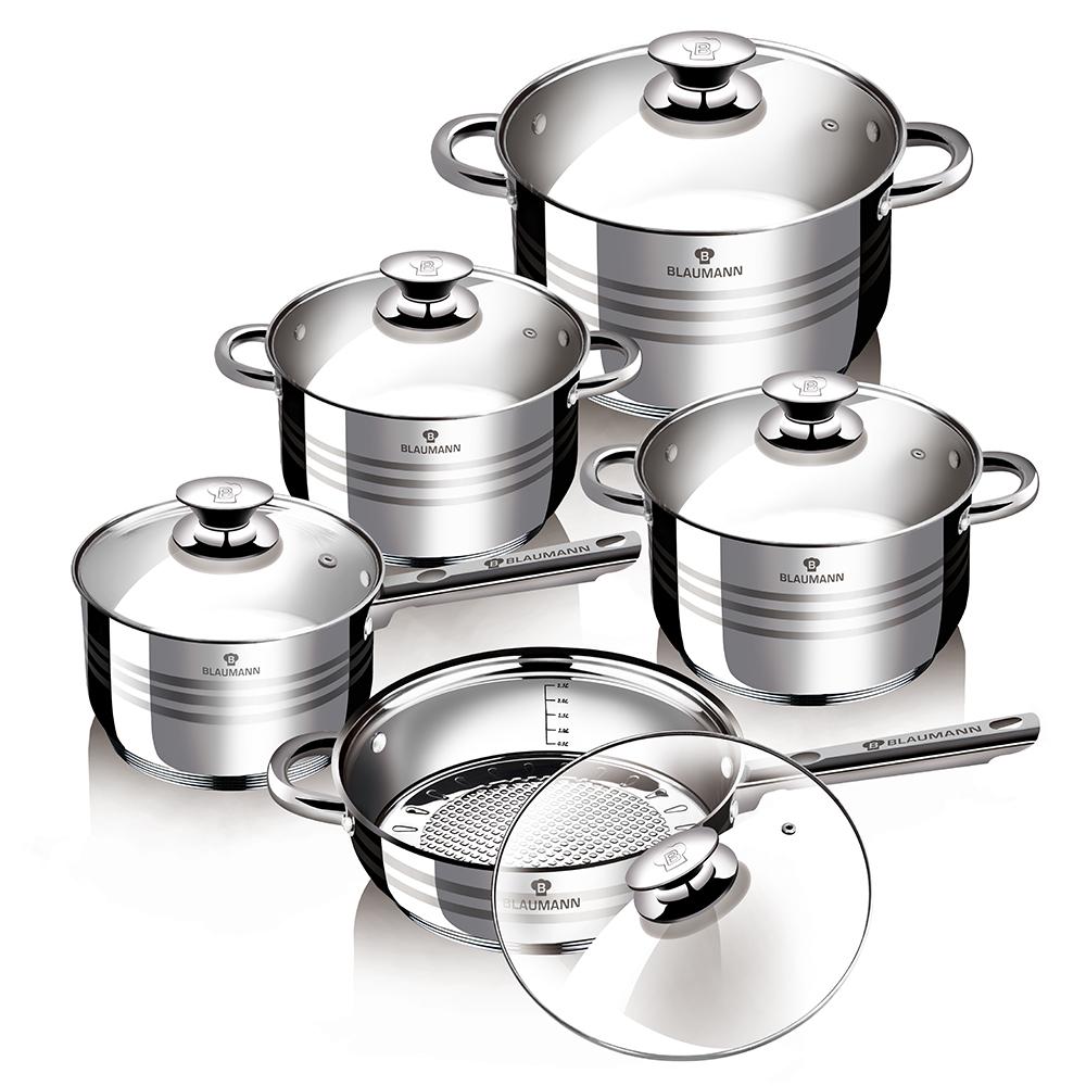 Набор посуды Blaumann Gourmet Line. Jambo, 10 предметов1637-BLНабор посуды 12 предметов со стеклянными крышками, 1 шт ковш 16х9,5 см, 2,1л, 1 шт кастрюля 18х10,5 см, 2,5л, 1 шт кастрюля 20х11,5 см, 3,9л, 1 шт сотейник 24х13,5 см, 6,5л, 1 шт сковорода 24х6,5 см, подходит для всех видов плит