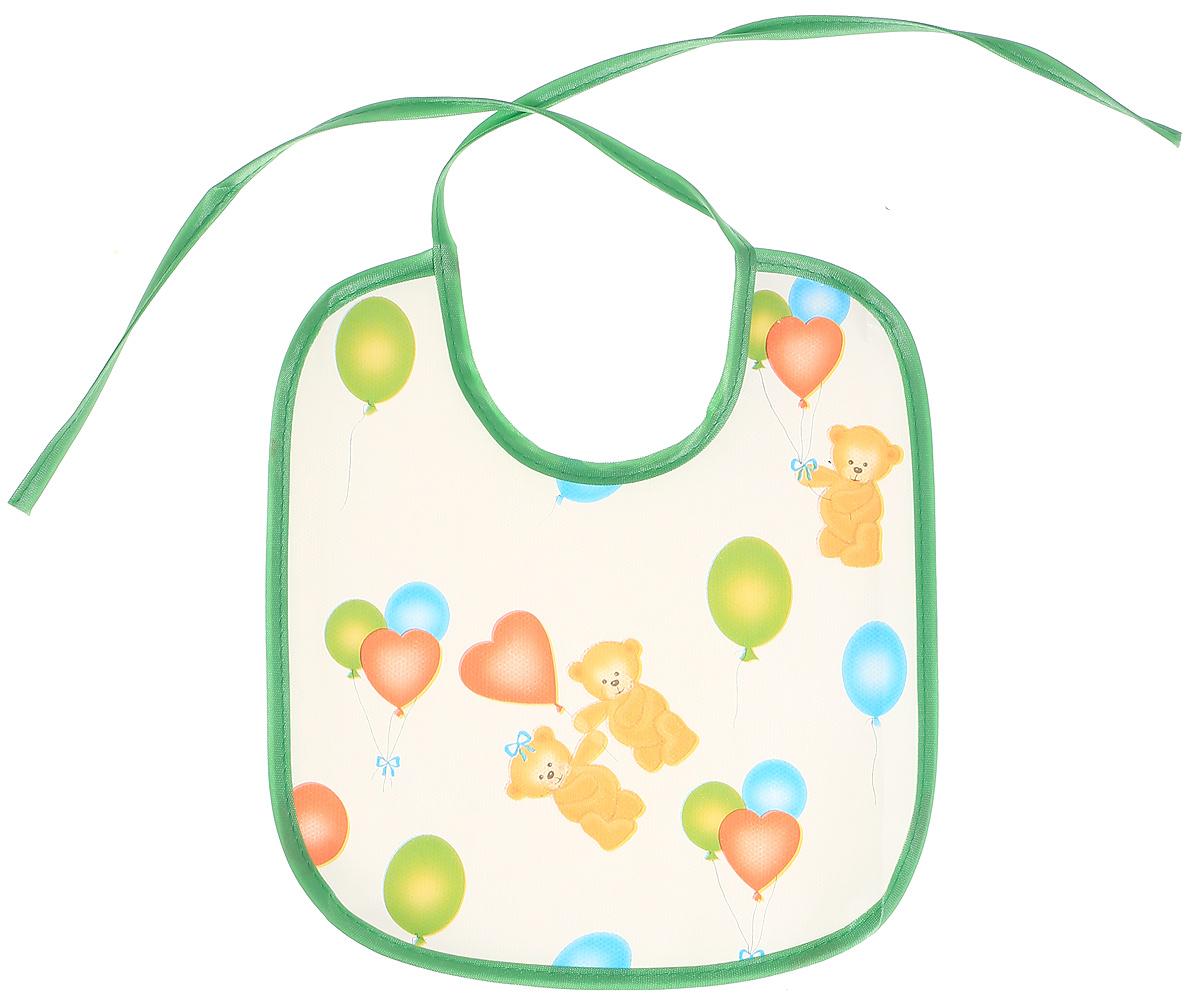 Колорит Нагрудник защитный Мишки с шариками цвет белый салатовый 20 х 22 см 0082_белый, салатовый