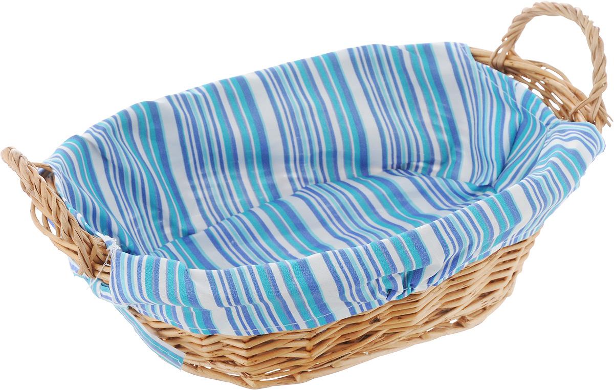 Корзинка для хлеба Kesper, с ручками, цвет: синий, бирюзовый, белый, 32 см х 23 см х 13 см1984-5_синий, бирюзовый, белыйОригинальная корзинка Kesper сплетена из деревянных прутьев. Она предназначена для красивой сервировки хлебобулочной продукции. На внутреннюю поверхность корзинки надет съемный текстильный чехол, благодаря которому крошки не просыпаются на стол. Корзинка оснащена двумя удобными ручками. Материал чехла: 30% хлопок, 70% полиэстер.