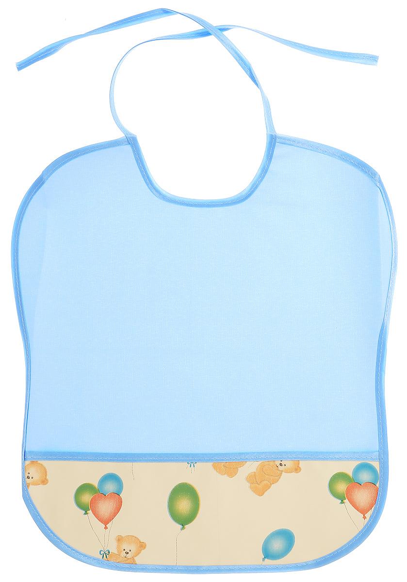 Колорит Нагрудник защитный Мишки с шариками цвет голубой желтый 33 х 33 см