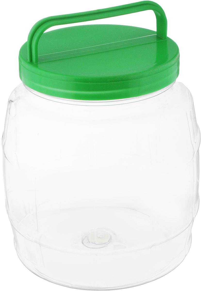 Банка Альтернатива Бочонок, цвет: прозрачный, зеленый, 2 лМ688Банка Альтернатива Бочонок, выполненная из высококачественного пластика, предназначена для хранения сыпучих продуктов или жидкостей. Крышка оснащена ручкой для удобной переноски. Высота бидона (без учета крышки): 15,6 см. Диаметр по верхнему краю: 10,5 см.
