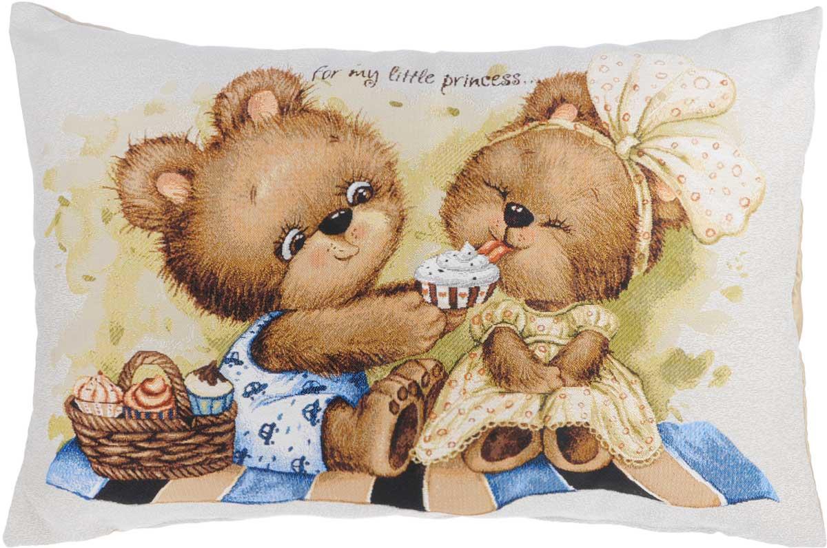 Подушка декоративная Рапира Для моей принцессы, 45 х 67 см5036Декоративная подушка Рапира Для моей принцессы изготовлена из хлопка и полиэфира. Изделие очень прочное и нежное на ощупь. Лицевая сторона подушки имеет яркий рисунок в виде медвежат. Чехол подушки снабжен удобной молнией. Такая подушка станет приятным дополнением к интерьеру любой комнаты. Размер подушки: 45 х 67 см.