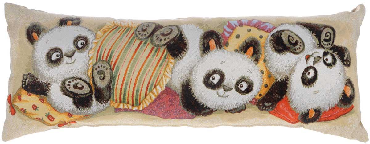 Подушка декоративная Рапира Мишки. Панды, 32 х 85 см5302Декоративная подушка Рапира Мишки. Панды изготовлена из хлопка и полиэфира. Изделие очень прочное и нежное на ощупь. Лицевая сторона подушки имеет яркий рисунок. Чехол подушки снабжен удобной молнией. Такая подушка станет приятным дополнением к интерьеру любой комнаты. Размер подушки: 32 х 85 см.