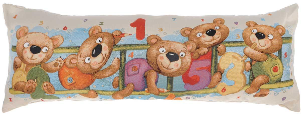 Подушка декоративная Рапира Арифметика. Медвежата, 32 х 84 см5305Декоративная подушка Рапира Арифметика. Медвежата изготовлена из хлопка и полиэфира. Изделие очень прочное и нежное на ощупь. Лицевая сторона подушки имеет яркий рисунок. Чехол подушки снабжен удобной молнией. Такая подушка станет приятным дополнением к интерьеру любой комнаты. Размер подушки: 32 х 84 см.