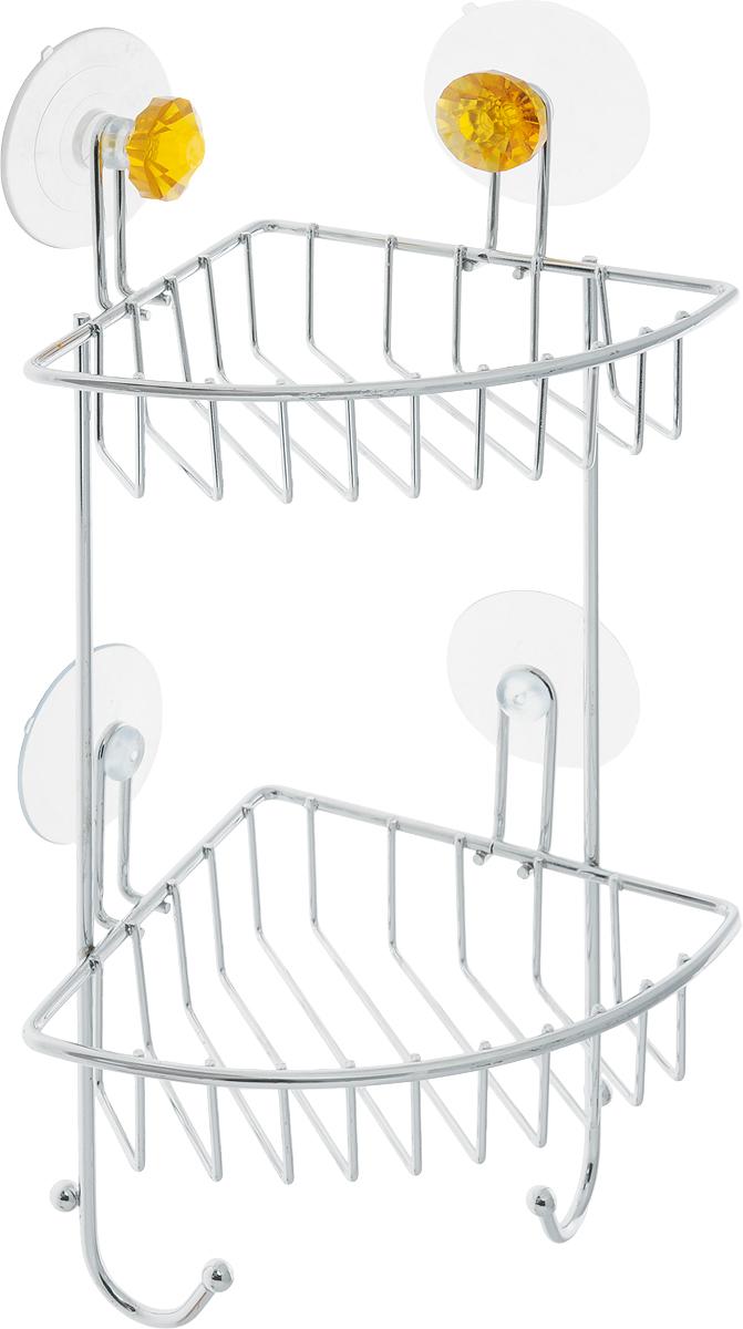 Полка для ванной Top Star Kristall, угловая, двухъярусная, на присосках, цвет: оранжевый, стальной, 14 х 19 х 34 см280884_оранжевыйУгловая полка для ванной Top Star Kristall изготовлена из стали с качественным хромированным покрытием, которое надолго защитит изделие от ржавчины в условиях высокой влажности в ванной комнате. Изделие имеет два яруса и крепится к стене с помощью четырех присосок. Снизу расположены два крючка для полотенец. Классический дизайн и оптимальная вместимость подойдет для любого интерьера ванной комнаты или кухни. Размер полки: 14 х 19 х 34 см.