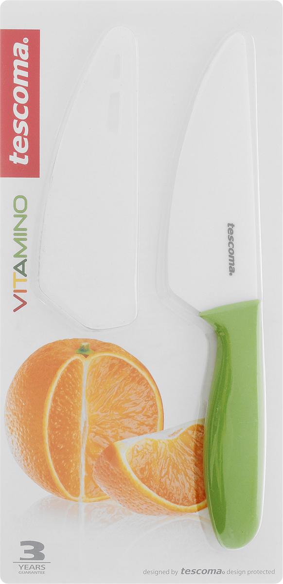 Нож керамический Tescoma Vitamino, с чехлом, длина лезвия 12 см642721Нож Tescoma Vitamino с керамическим лезвием отлично подходит для повседневного использования. Керамическое лезвие бережно относится к нарезаемым продуктам, овощи и фрукты не вянут, не темнеют, продукты не изменяют вкус и запах и дольше сохраняют свежесть. Закругленный кончик устойчив к повреждениям. Пластиковая ручка имеет нескользящую поверхность. В комплект входит защитный чехол для безопасного хранения. Можно мыть в посудомоечной машине. Общая длина ножа: 23 см. Длина лезвия: 12 см.