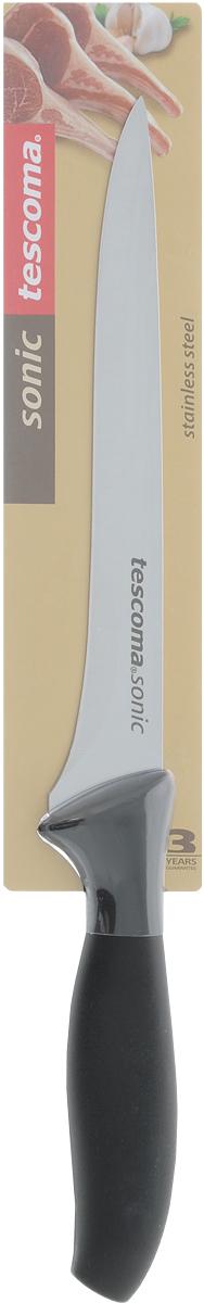 Нож для отделения костей Tescoma Sonic, длина лезвия 16 см862037Нож Tescoma Sonic предназначен для отделения костей. Лезвие ножа выполнено из высококачественной нержавеющей стали, а эргономичная ручка из прочного пластика. После использования вымыть и высушить, хранить в недоступном для детей месте. Можно мыть в посудомоечной машине. Длина лезвия: 16 см. Общая длина ножа: 28,5 см.