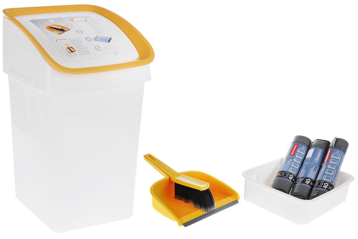 Набор для уборки мусора Tescoma Clean Kit, 6 предметов900685Набор Tescoma Clean Kit предназначен для уборки мусора. Прочное ведро снабжено удобной самозакрывающейся крышкой и крючком для подвешивания щетки с совком. Также имеется удобная база с тремя упаковками мусорных мешков. Для удобства база прикрепляется к нижней части ведра. Для легкого удаления пыли и мелкого мусора щетка имеет расщепленные кончики волокон. Совок снабжен гибким передним краем и скошенной задней стенкой для предотвращения поднимания пыли. Размер ведра (с учетом крышки): 30 х 27 х 52 см. Высота ведра (с учетом базы): 58 см. Длина щетки: 26 см. Размер совка: 28 х 22 х 9,5 см. Объем одного мусорного мешка: 40 л. Количество мешков в одной упаковке: 15 шт. Количество упаковок с мусорными мешками: 3 шт.
