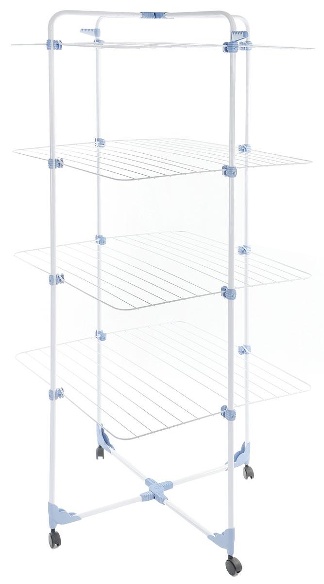 """Сушилка для белья Gimi """"Modular 4"""", напольная, цвет: белый, синий, 71 x 71 x 169 см 10510390_белый/синий"""
