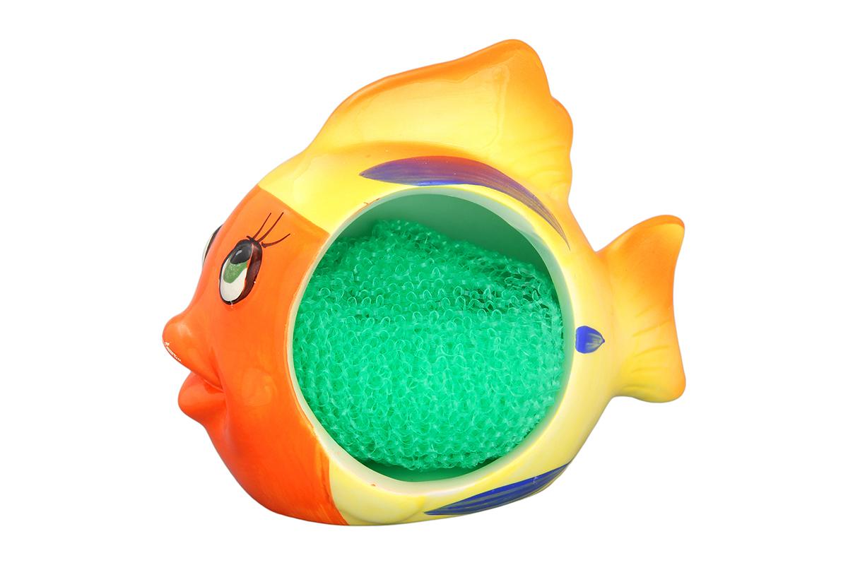 Подставка для губки Elan Gallery Рыбка-полосатик, с губкой 14 х 8 х 11,3 см110715/рыбка/Яркий и полезный аксессуар для кухни. Губка из полипропилена в комплекте.