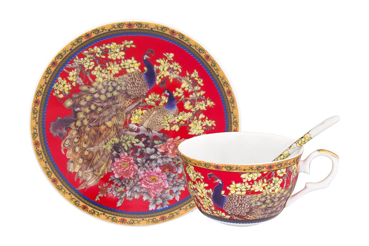 Чайная пара Павлин на красном 2 предмета, чашка расклешенная 12х9,5х6 см. 250 мл., блюдце 15х15х2 см., ложка 12,5х2,5х1,5 см., в п/у Elan Gallery180809/павлин/Чайный набор с изумительным декором на 1 персону украсит Ваше чаепитие. В комплекте чашка объемом 250 мл, блюдце, ложка. Изделие имеет подарочную упаковку, поэтому станет желанным подарком для Ваших близких!