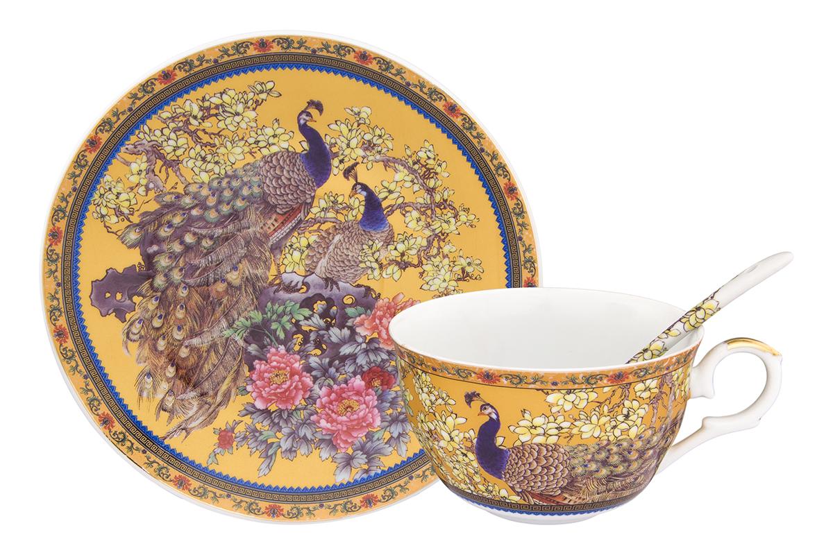 Чайная пара Elan Gallery Павлин золотой, 2 предмета180812/павлин/Чайный набор с изумительным декором на 1 персону украсит Ваше чаепитие. В комплекте чашка объемом 250 мл, блюдце, ложка. Изделие имеет подарочную упаковку, поэтому станет желанным подарком для Ваших близких!