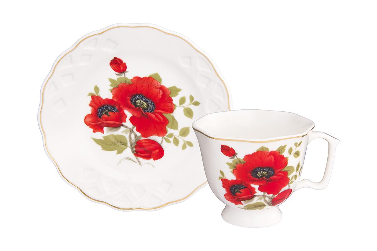 Кофейная пара Elan Gallery Маки, 100 мл, 2 предмета180988/маки/Кофейный набор на 1 персону понравится любителям кофе. В комплекте 1 чашка объемом 100 мл, 1 блюдце. Изделие имеет подарочную упаковку, поэтому станет желанным подарком для Ваших близких!