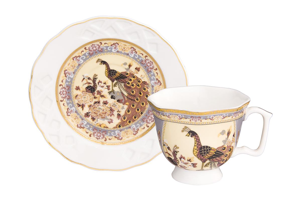 Кофейная пара Павлин на бежевом 2 предмета, блюдце ажурное - 11х11х1,8 см., чашка расклешенная на ножке - 9х7,5х6 см. 100 мл., в п/у Elan Gallery180989/павлинКофейный набор на 1 персону понравится любителям кофе. В комплекте 1 чашка объемом 100 мл, 1 блюдце. Изделие имеет подарочную упаковку, поэтому станет желанным подарком для Ваших близких!