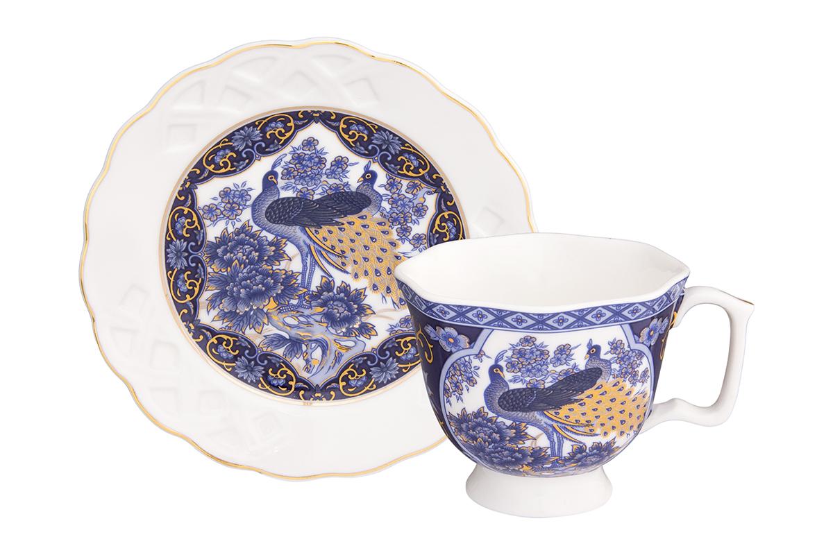 Кофейная пара Elan Gallery Павлин синий, 100 мл, 2 предмета180990/павлин/Кофейный набор на 1 персону понравится любителям кофе. В комплекте 1 чашка объемом 100 мл, 1 блюдце. Изделие имеет подарочную упаковку, поэтому станет желанным подарком для Ваших близких!