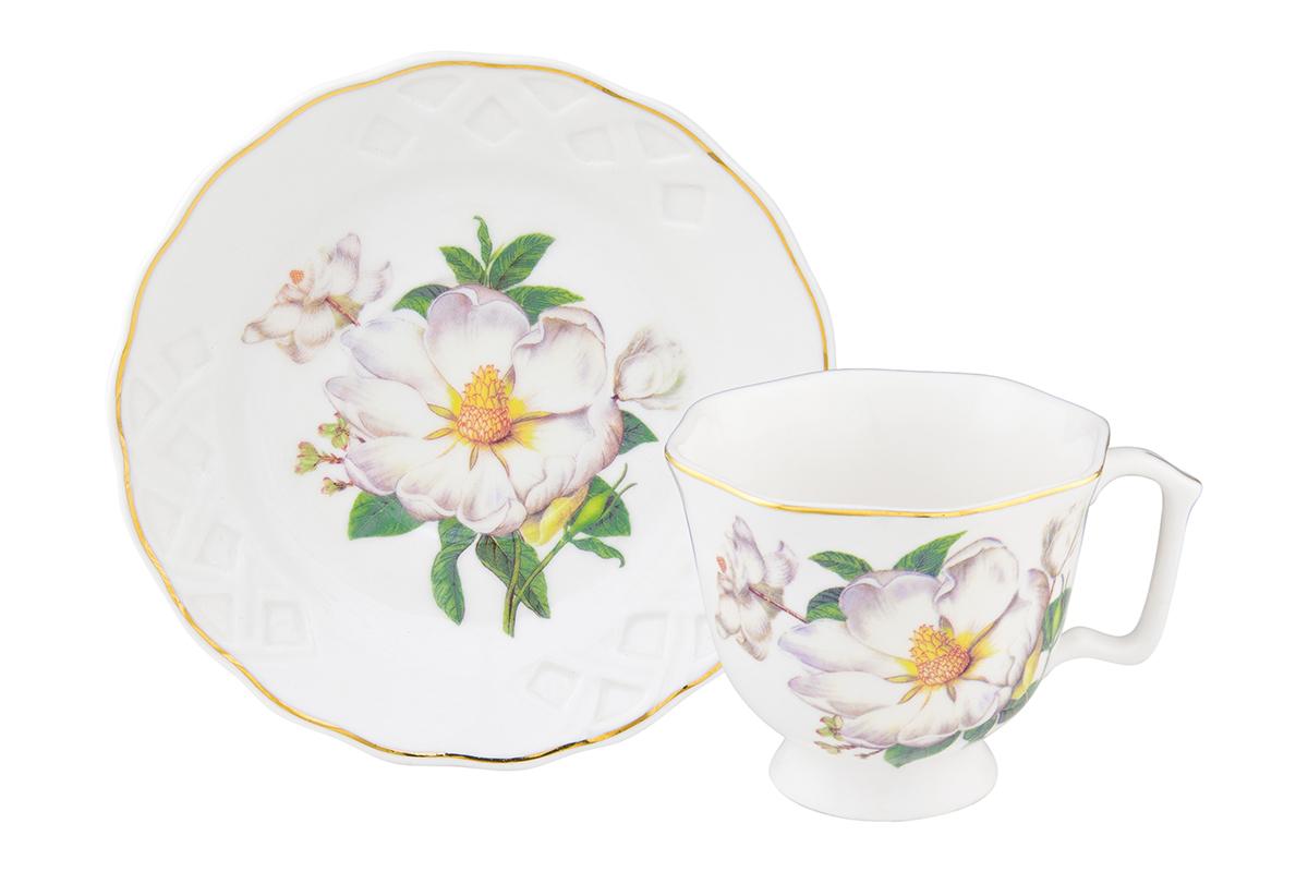 Кофейная пара Elan Gallery Белый шиповник, 100 мл, 2 предмета180991/шиповникКофейный набор на 1 персону понравится любителям кофе. В комплекте 1 чашка объемом 100 мл, 1 блюдце. Соберите всю коллекцию предметов сервировки Белый шиповник и Ваши гости будут в восторге! Изделие имеет подарочную упаковку, поэтому станет желанным подарком для Ваших близких!