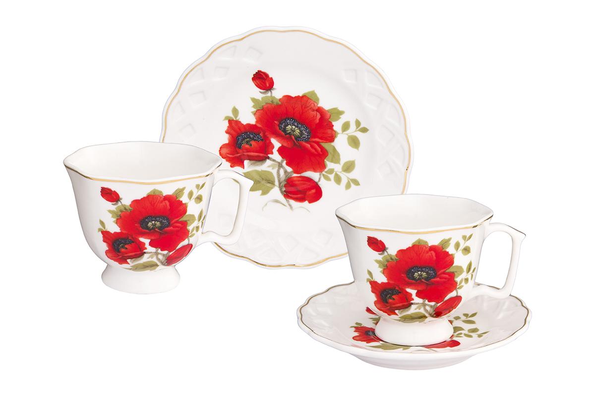 Кофейная пара Elan Gallery Маки, 4 предмета180994/макиКофейный набор на 2 персоны понравится любителям кофе. В комплекте 2 чашки объемом 100 мл, 2 блюдца. Изделие имеет подарочную упаковку, поэтому станет желанным подарком для Ваших близких!