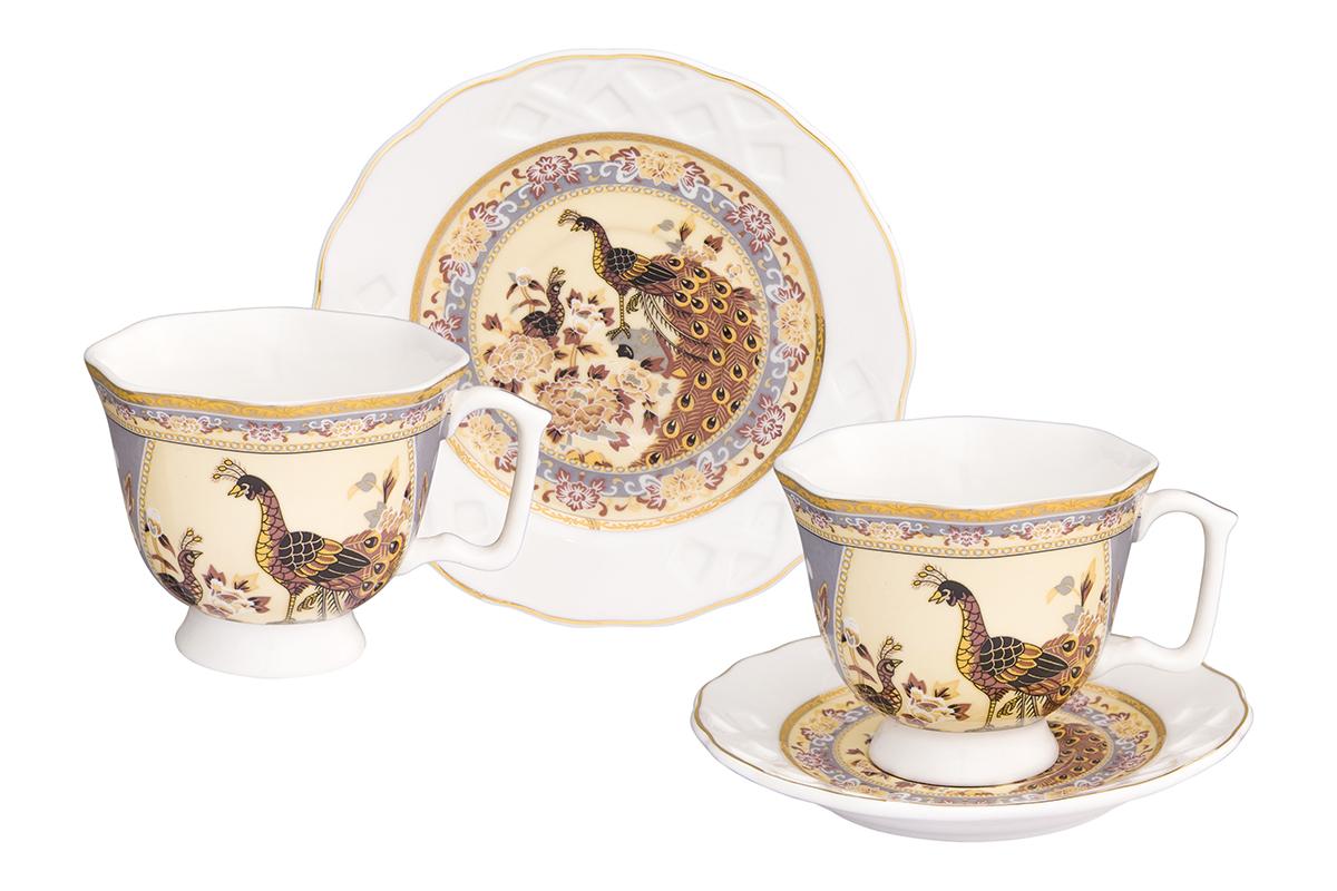 Кофейная пара Elan Gallery Павлин на бежевом, 4 предмета180995/павлинКофейный набор на 2 персоны понравится любителям кофе. В комплекте 2 чашки объемом 100 мл, 2 блюдца. Изделие имеет подарочную упаковку, поэтому станет желанным подарком для Ваших близких!