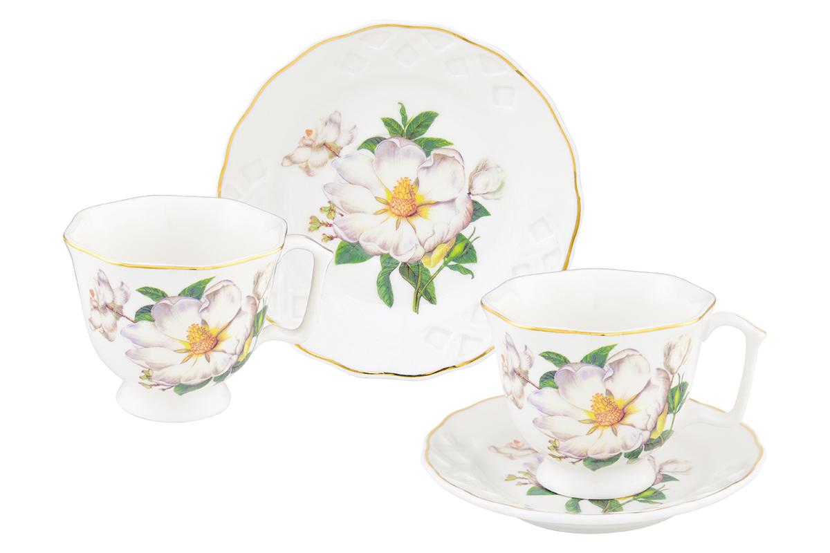 Кофейная пара Elan Gallery Белый шиповник, 4 предмета180997/шиповникКофейный набор на 2 персоны понравится любителям кофе. В комплекте 2 чашки объемом 100 мл, 2 блюдца. Изделие имеет подарочную упаковку, поэтому станет желанным подарком для Ваших близких!
