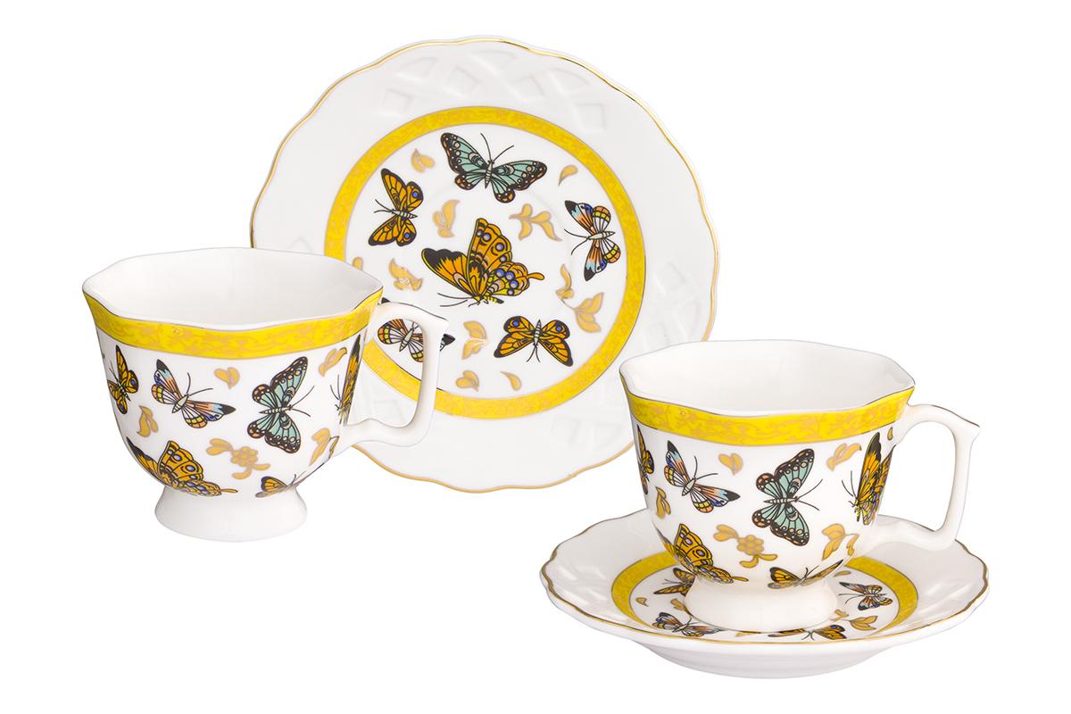 Кофейная пара Elan Gallery Бабочки, 4 предмета180999/бабочкиКофейный набор на 2 персоны понравится любителям кофе. В комплекте 2 чашки объемом 100 мл, 2 блюдца. Изделие имеет подарочную упаковку, поэтому станет желанным подарком для Ваших близких!