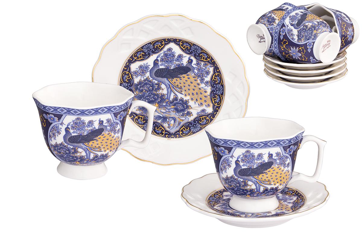 Кофейный набор Elan Gallery Павлин синий, 12 предметов181002/павлин/Кофейный сервиз на 6 персон включает 6 чашек объемом 130 мл, 6 блюдец, и станет достойным подарком для любителей кофе.Соберите всю коллекцию предметов сервировки Павлин на синем и Ваши гости будут в восторге! Изделие имеет подарочную упаковку.