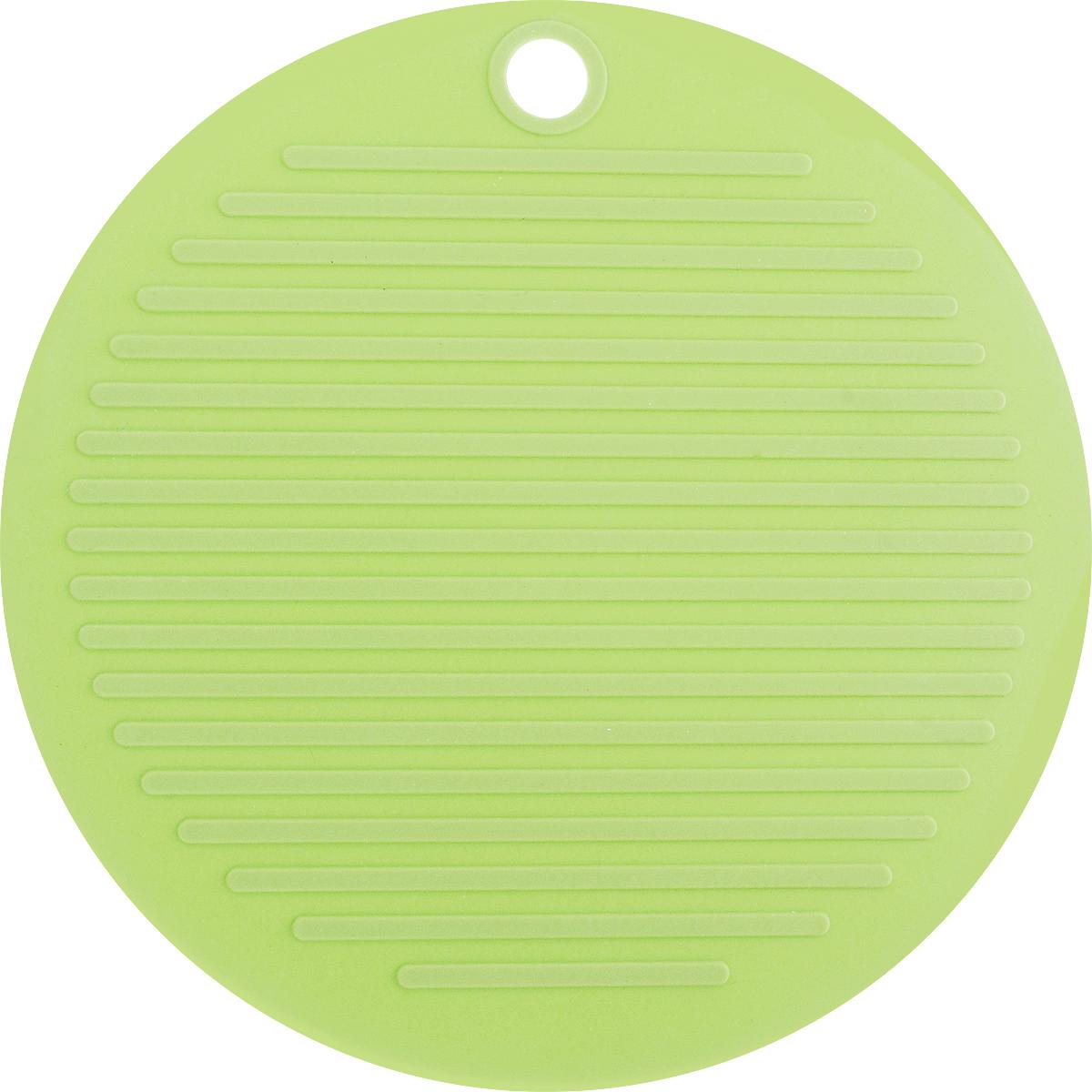 Подставка под горячее Tescoma Fusion, цвет: зеленый, диаметр 20 см638480Подставка под горячее Tescoma Fusion изготовлена из первоклассного жароупорного силикона и оснащена специальным отверстием для подвешивания. Материал позволяет выдерживать высокие температуры (до 230°С) и не скользит по поверхности стола. Каждая хозяйка знает, что подставка под горячее - это незаменимый и очень полезный аксессуар на каждой кухне. Ваш стол будет не только украшен яркой и оригинальной подставкой, но и сбережен от воздействия высоких температур. Диаметр подставки: 20 см.