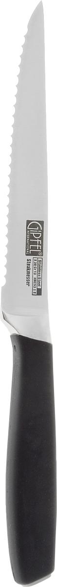 Нож для мяса Gipfel Profilo, длина лезвия 12 см6882Нож Gipfel Profilo предназначен для мяса и выполнен из высокоуглеродистой легированной нержавеющей стали (с повышенным содержанием углерода). Ножи из высокоуглеродистой нержавеющей стали относятся к ножам более высокого класса. Эти ножи сочетают в себе все самые лучшие свойства углеродистой и нержавеющей стали. Высокое содержание углерода способствует долгому сохранению заточки, а нержавеющая сталь обеспечивает устойчивость к коррозии и пятнообразованию. Ножи из высокоуглеродистой стали имеют в составе сплава дополнительные элементы, например, молибден, ванадий. Их наличие способствует увеличению твердости, времени сохранения заточки и режущей способности. Прорезиненная ручка способствует комфортному использованию ножа. Длина лезвия ножа: 12 см. Общая длина ножа: 23 см.