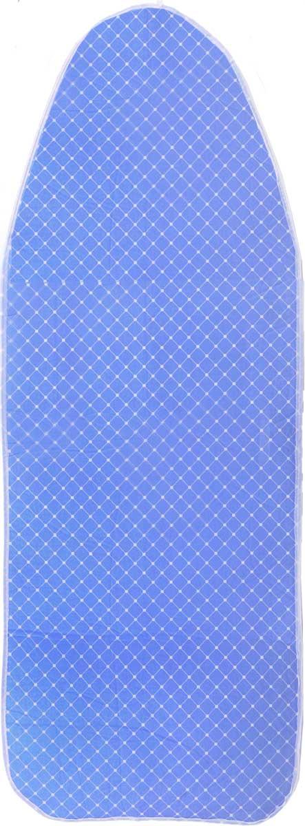 """Чехол для гладильной доски """"Paterra"""", антипригарный, с поролоном, цвет: белый, голубой, 126 х 46 см 402-485_белый, голубой"""