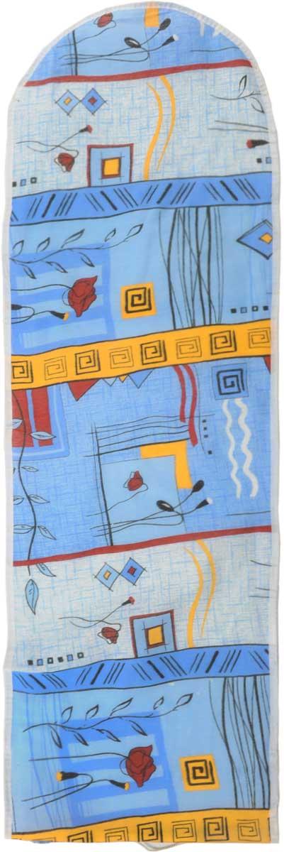 Чехол для гладильной доски Eva, цвет: голубой, оранжевый, красный, 120 х 38 смЕ13*_голубой, оранжевый, красныйЧехол для гладильной доски Eva выполнен из хлопчатобумажной ткани, с поролоновой подкладкой. Чехол предназначен для защиты или замены изношенного покрытия гладильной доски. Благодаря удобной системе фиксации легко крепится. Этот качественный чехол обеспечит вам легкое глажение. Размер чехла: 120 x 38 см. Максимальный размер доски: 112 x 32 см.