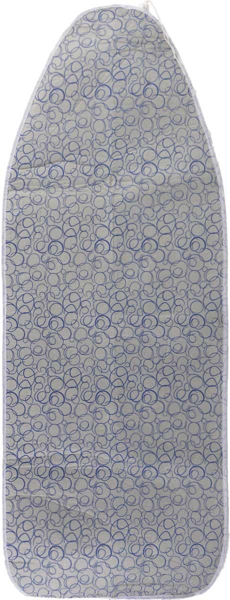 Чехол для гладильной доски Paterra, антипригарный, с поролоном, цвет: серый, синий, 146 х 55 см402-486_серый, синийАнтипригарный чехол для гладильной доски Paterra необходим для обеспечения идеального результата в процессе глажения вещей. Он имеет хлопковую основу с особой антипригарной пропиткой из силикона, которая исключает пригорание одежды к чехлу в процессе глажения. Силиконовая пропитка обеспечивает эффект двустороннего глажения: чехол, нагреваясь, отдает тепло вещам. Натуральный хлопок в составе обеспечивает максимальную скорость скольжения утюга и 100% паропроницаемость. Хлопковый чехол имеет подкладку из поролона (мягкого пенополиуретана) оптимальной толщины (4 мм), которая не истончается со временем. Затяжной шнур определяет удобную и надежную фиксацию чехла на доске. Кроме того, наличие шнура делает чехол пригодным для гладильной доски любой формы и меньшего размера. Край хлопкового чехла обработан особой лентой, предотвращающей распускание ткани. Устойчивый рисунок сохраняется длительное время, даже под воздействием высоких температур. Размер чехла: 146...